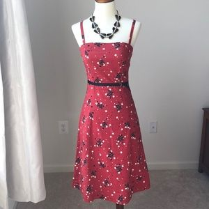 Topshop Red Floral Dress Size 6
